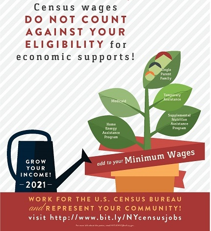 Census wages don't count against Medicaid and SNAP benefits